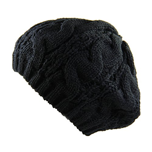 Ladies Cable Knit Beret (Black)