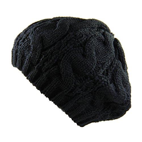 Ladies Cable Knit Beret (Black)
