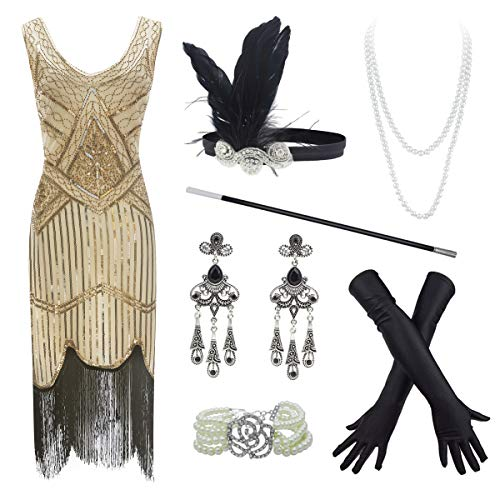 20s Flapper Gatsby Sequin Beaded Evening Cocktail Dress with Accessories Set (3X-Large, Gold)