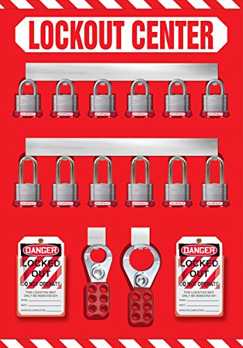 Accuform Signs KST810 STOPOUT Lockout Store-Board with Kit, 12-Padlock, 20'' Length x 14'' Width, Aluminum, Includes 6 Steel Padlocks with 3/4'' Shackle, 6 Steel Padlocks with 1-1/2'' Shackle, 50 HS-Laminate Lockout Tags, 50 Plastic Ties, 1 Scissor Hasp with  by Accuform Signs