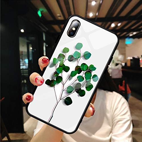 Twinlight Plants Flower Pattern Tempered Glass Case for iPhone Xs MAX XR XS 7 8 Plus X Phone Bags Case for iPhone Plus Back Cover (Leaf, for iPhone XR)