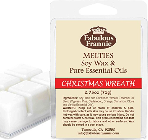 Wreath Tarts - Fabulous Frannie Christmas Wreath 2.5oz of 100% Natural Soy Candle Meltie/Tart/Melts with Pure Our blend of Cyrpress, Pine, Cedarwood, Orange, Cinnamon, Clove and Vanilla Essential Oils.