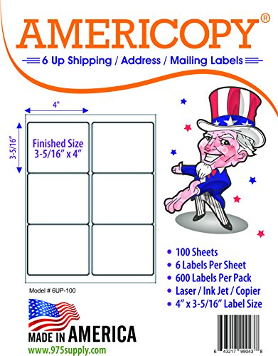 6 Up Labels - Address Labels - Americopy - Shipping / Mailing Labels - 4 x 3-5/16 Label Size - MADE IN THE USA (600 Labels)