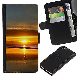 Paccase / Billetera de Cuero Caso del tirón Titular de la tarjeta Carcasa Funda para - Sunset Beautiful Nature 99 - Apple Iphone 6 4.7