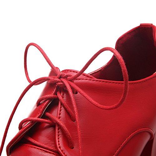 AllhqFashion Damen Spitz Zehe Hoher Absatz Weiches Material Eingelegt Schnüren Pumps Schuhe Rot