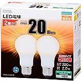 OHM LED電球 一般電球形 20形相当 口金直径26mm 電球色 2個入り[品番]06-1741 LDA2L-G AG5 2P