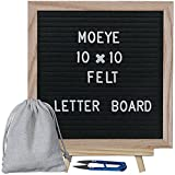 Moeye 10x10 inches Black Felt Letter Board, Changeable Message Board with Wooden Tripod Stand Include Oak Frame, 170 White Letters, Free-Drawstring Storage Bag