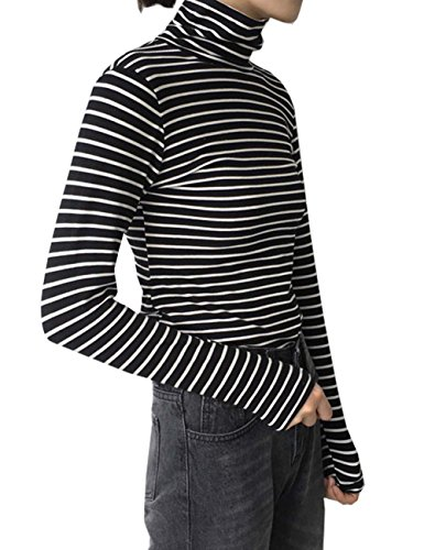 (TR Womens Slim Fit Striped Shirts Turtle Neck Blouses (Free, Black))