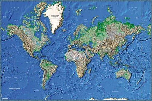 Grupo Erik Editores Poster Mapa Mundo Es Fisico Relieve: Amazon.es ...