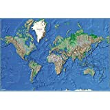 Grupo Erik Editores   Poster Mapa Mundo Es Fisico Relieve