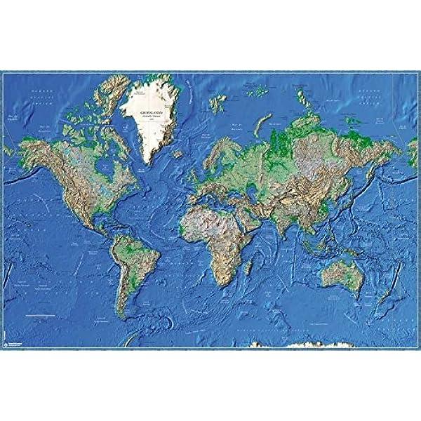 Grupo Erik Editores Poster Mapa Mundo Es Fisico Relieve: Amazon.es: Oficina y papelería