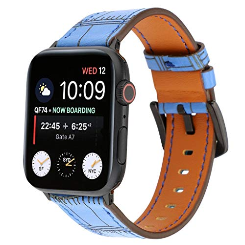 Replacement Band for Apple Watch Series 4/3/2/1 38/40mm / 42/44mm Premium Soft Flexible Leather Bamboo Texture Stylish Style Adjustable Smart Watch Accessory Band (Blue, 38/40mm)