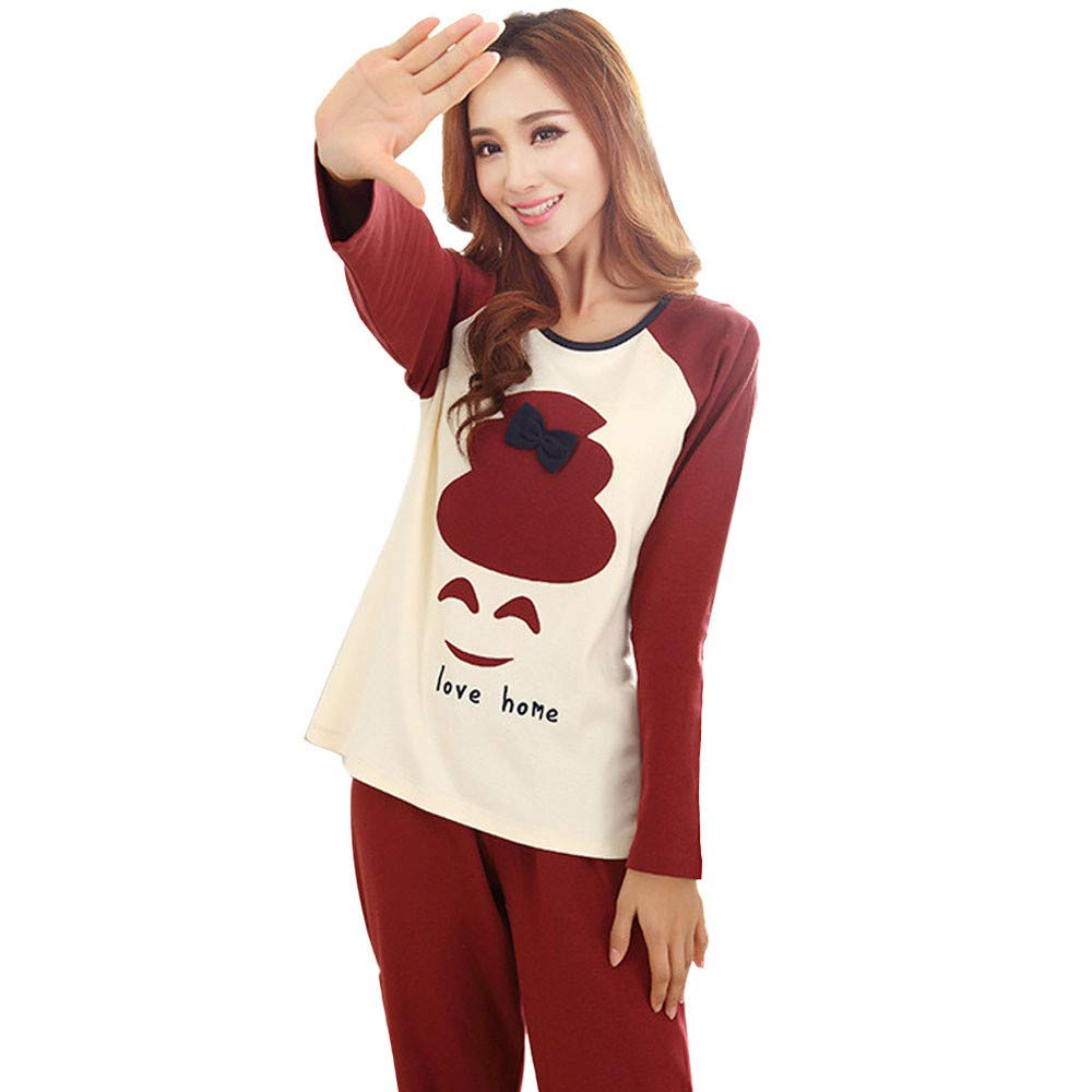 Quelife Women Lovers Sleepwear Set Long-Sleeve Lovers Home Clothing Autumn (Red,L-XL) by Quelife