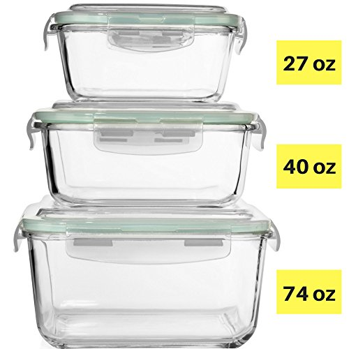 Extra Large Glass Food Storage Containers with Airtight Lid 6 Pc [3 containers with lids] Microwave/Oven/Freezer & Dishwasher Safe. BPA/PVC Free X-Large/Large/Medium Size Reusable Square container ()