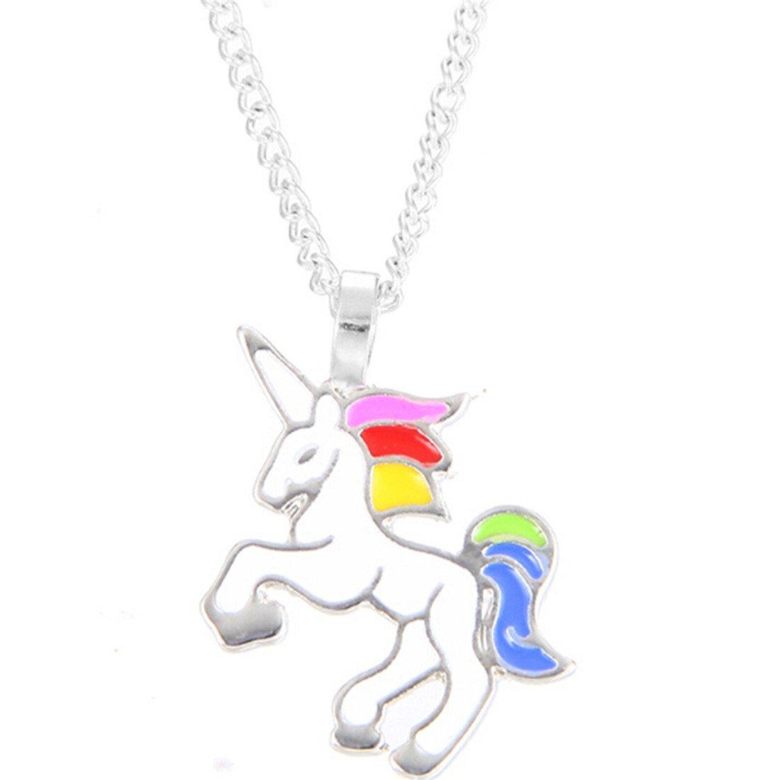 VWH 1 pcs Women Girls Alloy Necklace Unicorn Pendant Clavicle Bone Chain Necklace Jewelry Gift, Silver Colour