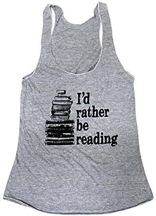 Friendly Oak Women's I'd Rather be Reading Tank Top – S – Heather Grey