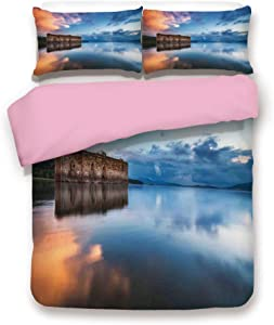Pink 3pc Bedding Set,Epic Long Exposure European Building in Dam with Water Historical Landmark Print King Size Duvet Cover Set,Printed Comforter Cover with 2 Pillowcases for Women & Girls