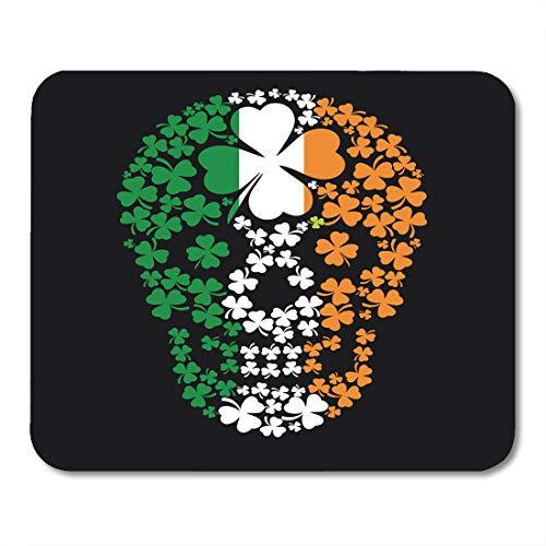 Emvency Mouse Pads Green Pirate Irish Skull Clover Vintage Halloween Ireland Satan Angel Mousepad 9.5
