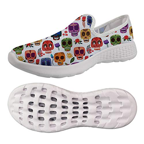 (chaqlin Women's Running Shoes Sports Hiking Sneakers Breathable Mesh Upper Flat Flower Skull Pattern for Adult Girls Size EUR 39)