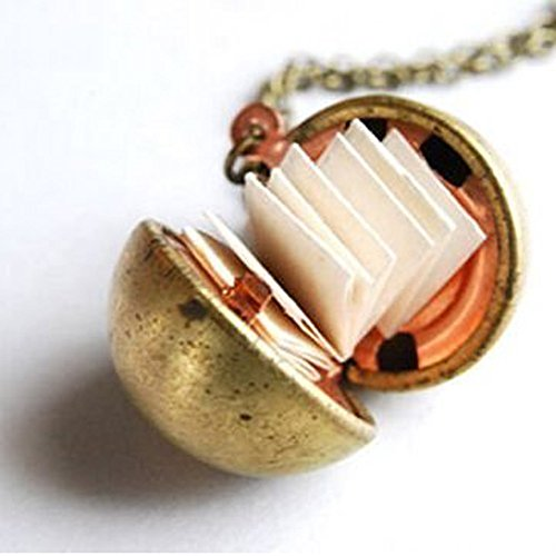Vintage Brass Ball Locket Necklace Secret Message Necklace