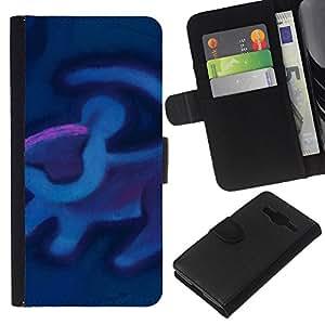 Planetar® Modelo colorido cuero carpeta tirón caso cubierta piel Holster Funda protección Samsung Galaxy Core Prime ( Lion Art Cave Painting Blue Purple )
