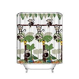 Bath accessories,Monkey Shower Curtain,kids bath kids home bathroom Decorative Bath Collection (66x72inch)