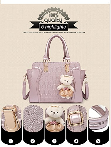 Card Fashion Women Bag Key New Bag PU Handbag Tote Bear Chain in amp;Gold Messenger Purse Shoulder Leather Bag Black q1xRSH