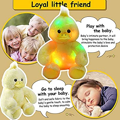 Bstaofy LED Duck Stuffed Animal Glow Cuddly Plush Toy Bedtime Colorful Afraid of Duck Gift for Toddlers Kids on Birthday Christmas, 12'': Toys & Games
