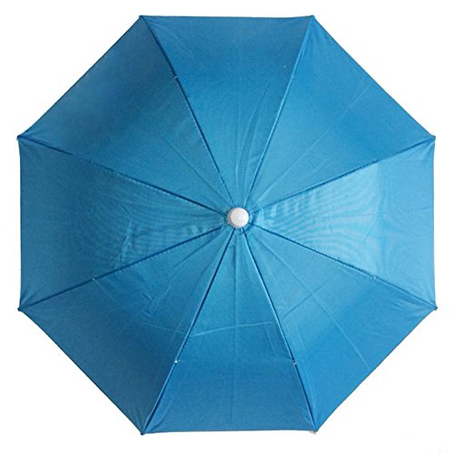 Inoutdoorkit UH26 Umbrella Hat, Folding Headwear 26' Hands Free Sunshade Double Layer Protection Anti-UV Parasol For Golf, Traveling, Fishing, Gardening, Beach, Camping, Party (Blue)