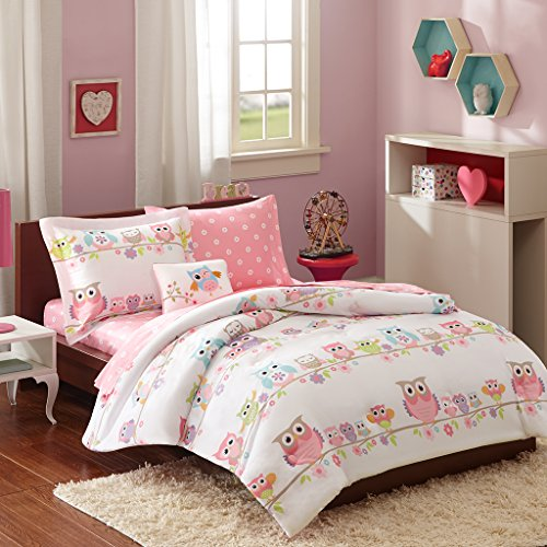 Mi Zone kids - Wise Wendy Complete Bed and Sheet Set - Pink - Twin - Owl & Flower Print - Includes 1 Comforter, 1 Decorative Pillow, 1 Fitted Sheet, - 1 Sheet Flowers