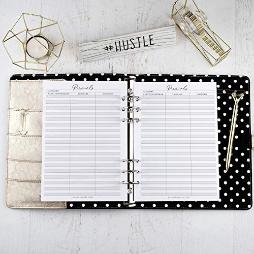 Password Log Planner Inserts | Refill for A5 Size Six Ring Planners | 5.83x8.27 inches