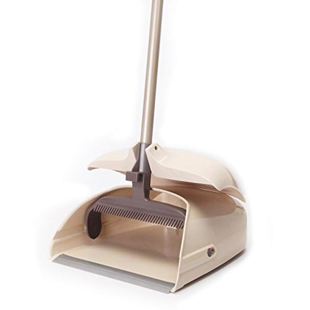 Dustpan & Broom Sweep Set- Long Handle Cleaner for Home, Kitchen, Room, Office and Lobby Floor | Upright Standing up Dust Pan & Broom Combo