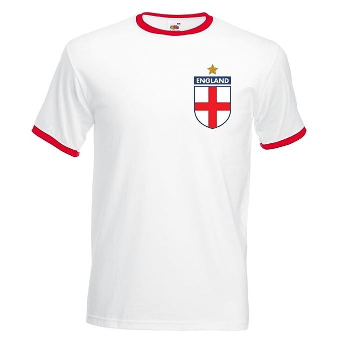 Desconocido Rooney Retro England Camiseta de fútbol para Hombre, Color Blanco y Rojo, Extra