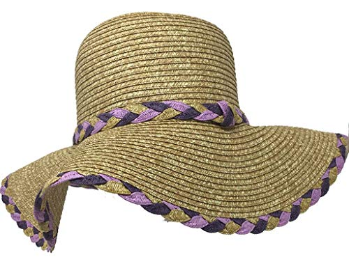 - Jacobson Hat Company Braided Toyo Hat with Colorful Band and Trim, Purple