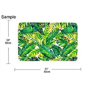 Blue And Green Tropical Palm Leaves Bath Mat Rug Non-Slip Bathroom Decor Carpet
