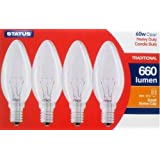 4 Pack STATUS 60W SES E14 Classic Clear Candle Light Bulbs, Small Screw, Incandescent Dimmable Lamps, Heavy Duty, 660 Lumen, Mains 240V