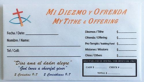Gift Offering Envelope - SOBRE BILINGUE para DIEZMOS Y OFRENDAS (250 unidades)