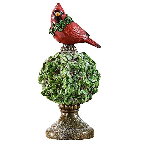 - Gift Craft Red Cardinal on Topiary 5 x 10 Inch Resin Polystone Christmas Tabletop Figurine