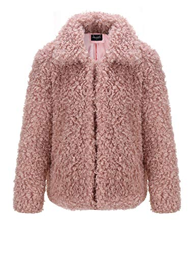 Bellivera Women's Curly Faux Fur Jacket Warm for Winter, Fake Fur Coat with 2 Pocket and for The Hooked Flap