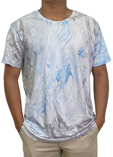 - Ace Apparels Men's Crew Neck Tie Dye Aquamarine Wash Tee, white/lt blue/grey (L)