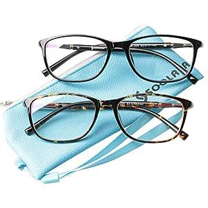 SOOLALA 2 Pairs Lightweight TR90 Full Frame Oversized Clear Lens Eyeglasses Reading Glasses, BkLeo, 2.25