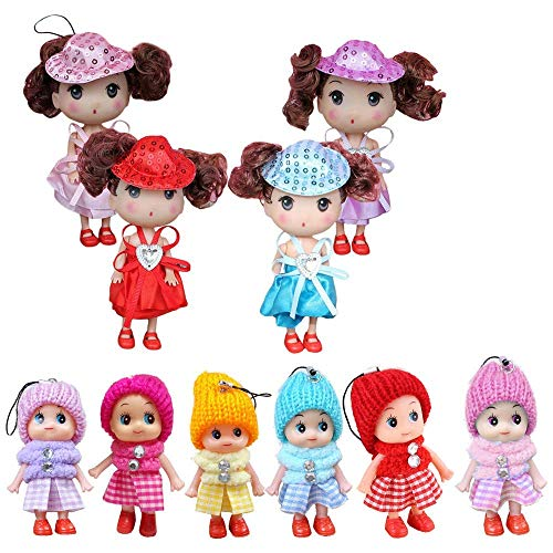 - 10 PCS Mini Dolls for Baby Girls, Princess Mini Doll Toys Set For Girl, Animators Collection Mini Doll Set, Surprise Dollhouse Loving Family Dolls Toy, Little People Mini Doll House Figures Keychain