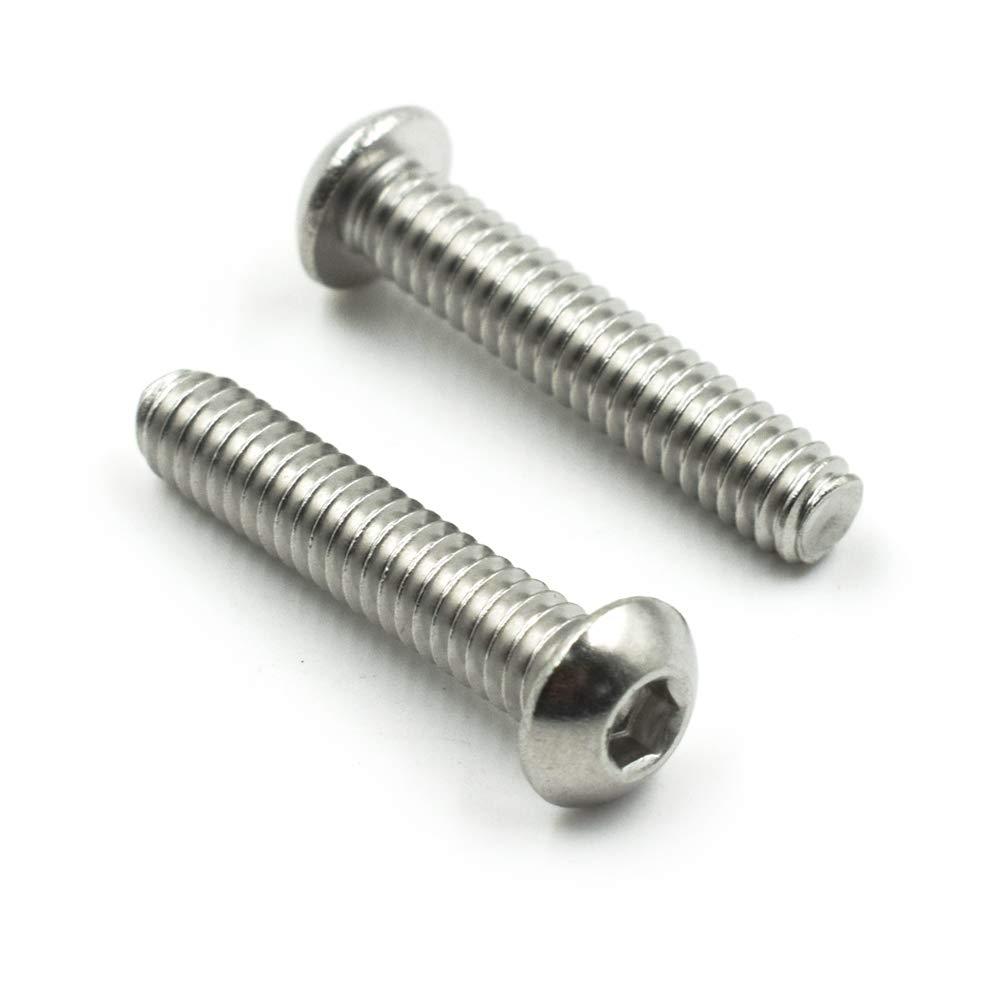 TOUHIA 1//4-20 x 1-1//4 Button Head Socket Cap Screws Stainless Steel 18-8 Machine Thread Bright Finish Full Thread 25Pcs Allen Socket Drive