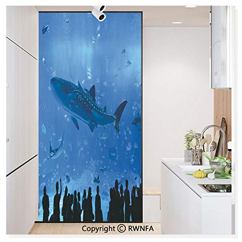RWN Film No Glue Static Cling Glass Sticker Decorative,Japanese Aquarium Park with People Silhouettes Watching Underwater Life Hobby Image 17.7