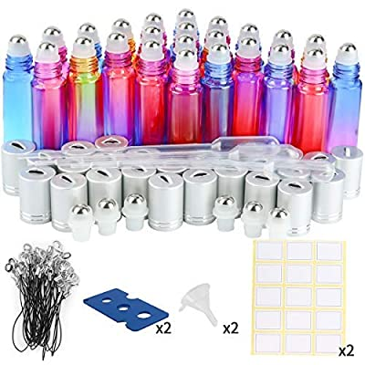 Glass Roller Bottles, 24 Pack 10 ml colorful Essential Oil Roller Bottles with Stainless Steel Roller Balls by ESARORA