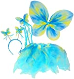 Blue & Green Neon Fairy Butterfly Costume Tutu Set (4 pc)