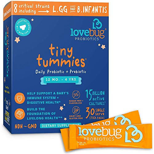 Lovebug Tiny Tummies Probiotics, 30 Packets, Probiotic Support for Children 12 Months to 4 Years, Oral Probiotics Kids (Cold Medicine For Infants Under 6 Months)