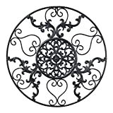 GB HOME COLLECTION gbHome GH-6775 Metal Wall Decor, Decorative Victorian Style Hanging Art, Steel Decor, Circular Medallion Design, 23.5 x 23.5 inches, Black Circle