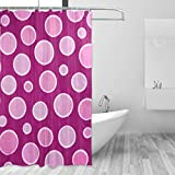 Hot Pink Polka Dot Shower Curtain LORVIES Hot Pink Polka Dots Shower Curtain Polyester Fabric Water Repellent Mildew Resistant Shower Curtain for Bathroom Bathtubs Decorative, 60W X 72L Inches