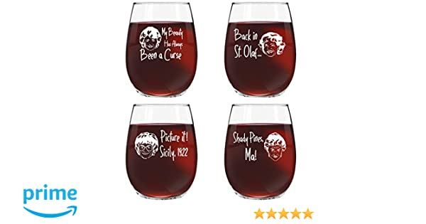7e3a39a4737fe Golden Girls Inspired Stemless Wine Glass Set of 4 (15 oz)- Funny Novelty  Glasses for Party, Event, Girls Night- Unique Birthday Gift For Mom, Women  ...